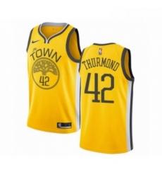 Mens Nike Golden State Warriors 42 Nate Thurmond Yellow Swingman Jersey Earned Edition