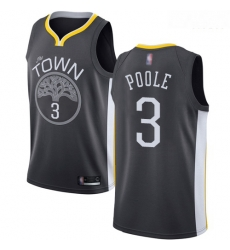 Warriors #3 Jordan Poole Black Basketball Swingman Statement Edition Jersey