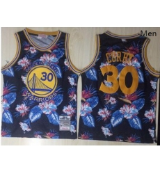 Warriors 30 Stephen Curry Black 1996 97 Hardwood Classics Floral Fashion Swingman Jersey