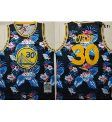 Warriors 30 Stephen Curry Black 2009 10 Hardwood Classics Floral Fashion Swingman Jersey