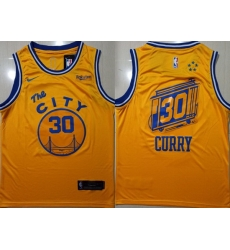 Warriors 30 Stephen Curry Yellow City Edition Nike Swingman Jersey