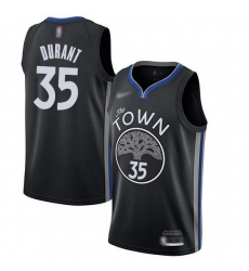 Warriors  35 Kevin Durant Black Basketball Swingman City Edition 2019 20 Jersey