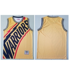 Warriors Big Face Yellow Hardwood Classics Swingman Jersey