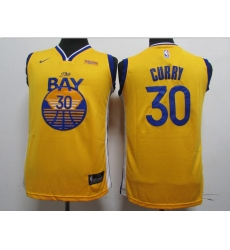 Youth Warriors 30 Stephen Curry Yellow Youth 2020 New Nike Swingman Jersey