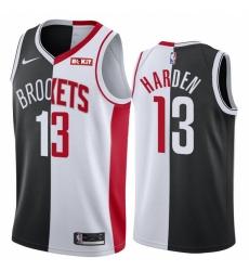 Men Brooklyn Nets Houston Rockets 13 James Harden Jersey Past and Present MVP Black White Split Edition