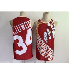 Men Men Houston Rockets 34 Hakeem Olajuwon Red Big Face Stitched Jersey