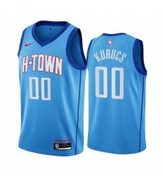 Men Nike Houston Rockets 00 Rodions Kurucs Blue NBA Swingman 2020 21 City Edition Jersey