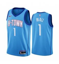 Men Nike Houston Rockets 1 John Wall Blue NBA Swingman 2020 21 City Edition Jersey