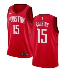 Men Nike Houston Rockets 15 DeMarcus Cousins Red NBA Swingman Earned Edition Jersey