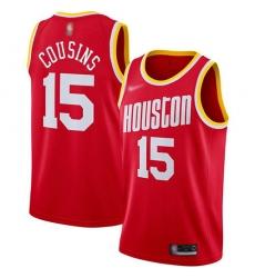 Men Nike Houston Rockets 15 DeMarcus Cousins Red NBA Swingman Hardwood Classics Jersey