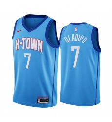 Men Nike Houston Rockets 7 Victor Oladipo Blue NBA Swingman 2020 21 City Edition Jersey