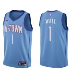 Men's Houston Rockets John Wall Blue Nike Association Swingman Jersey