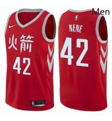 Mens Nike Houston Rockets 42 Nene Swingman Red NBA Jersey City Edition