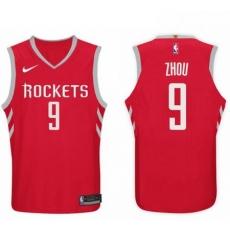 Nike NBA Houston Rockets 9 Zhou Qi Jersey 2017 18 New Season Red Jersey