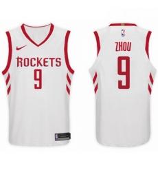 Nike NBA Houston Rockets 9 Zhou Qi Jersey 2017 18 New Season White Jersey