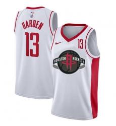 Rockets 13 James Harden White Nike City Edition Number Swingman Jersey