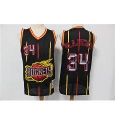 Rockets 34 Hakeem Olajuwon Black Hardwood Classics Jersey