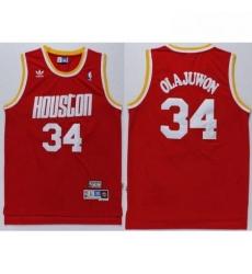 Rockets 34 Hakeem Olajuwon Red Throwback Stitched NBA Jersey