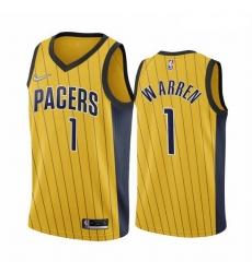 Men Indiana Pacers 1 T J  Warren Gold NBA Swingman 2020 21 Earned Edition Jersey