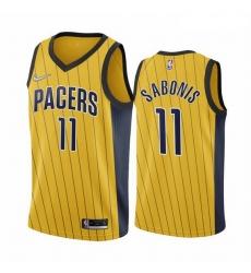 Men Indiana Pacers 11 Domantas Sabonis Gold NBA Swingman 2020 21 Earned Edition Jersey