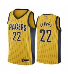 Men Indiana Pacers 22 Caris LeVert Gold NBA Swingman 2020 21 Earned Edition Jersey