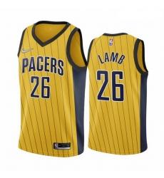 Men Indiana Pacers 26 Jeremy Lamb Gold NBA Swingman 2020 21 Earned Edition Jersey