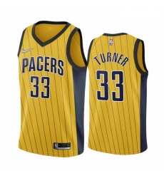 Men Indiana Pacers 33 Myles Turner Gold NBA Swingman 2020 21 Earned Edition Jersey