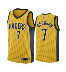 Men Indiana Pacers 7 Malcolm Brogdon Gold NBA Swingman 2020 21 Earned Edition Jersey