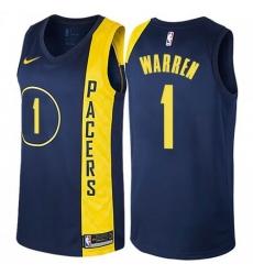 Men Nike Indiana Pacers 1 TJ Warren Navy Blue NBA Swingman City Edition Jersey