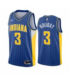 Men Nike Indiana Pacers 3 Aaron Holiday Blue NBA Swingman 2020 21 City Edition Jersey