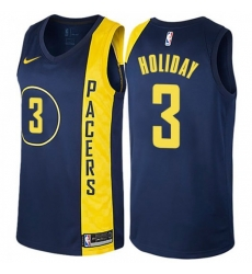 Men Nike Indiana Pacers 3 Aaron Holiday Navy Blue NBA Swingman City Edition Jersey