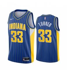 Men Nike Indiana Pacers 33 Myles Turner Blue NBA Swingman 2020 21 City Edition Jersey
