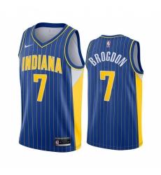 Men Nike Indiana Pacers 7 Malcolm Brogdon Blue NBA Swingman 2020 21 City Edition Jersey
