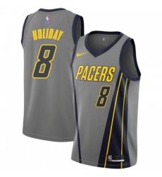 Men Nike Indiana Pacers 8 Justin Holiday Gray NBA Swingman City Edition 2018 19 Jersey