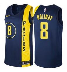 Men Nike Indiana Pacers 8 Justin Holiday Navy Blue NBA Swingman City Edition Jersey