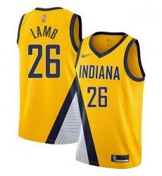 Pacers  26 Jeremy Lamb Gold Basketball Swingman Statement Edition 2019 2020 Jersey