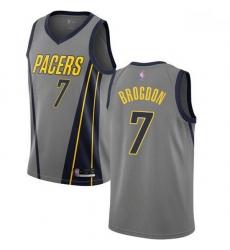 Pacers  7 Malcolm Brogdon Gray Basketball Swingman City Edition 2018 19 Jersey
