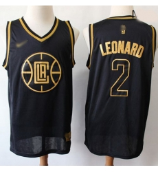 Clippers #2 Kawhi Leonard Black Gold Basketball Swingman Limited Edition Jersey