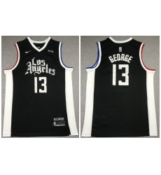 Men Los Angeles Clippers 13 Paul George Black 2021 City Edition Nike Swin