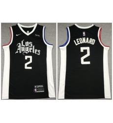 Men Los Angeles Clippers 2 Kawhi Leonard Black 2021 City Edition Nike Swingman