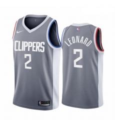 Men Los Angeles Clippers 2 Kawhi Leonard Gray NBA Swingman 2020 21 Earned Edition Jersey