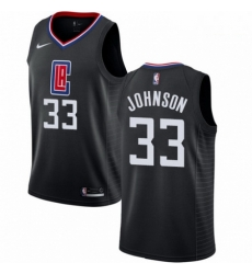Mens Nike Los Angeles Clippers 33 Wesley Johnson Authentic Black Alternate NBA Jersey Statement Edition