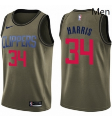 Mens Nike Los Angeles Clippers 34 Tobias Harris Swingman Green Salute to Service NBA Jersey