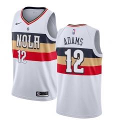 Men Nike New Orleans Pelicans 12 Steven Adams White NBA Swingman Earned Edition Jersey