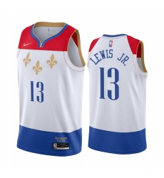 Men Nike New Orleans Pelicans 13 Kira Lewis Jr  White NBA Swingman 2020 21 City Edition Jersey