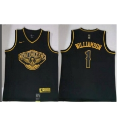 Men Pelicans 1 Zion Williamson Gold Edition Nike Swingman Jersey