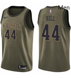 Mens Nike New Orleans Pelicans 44 Solomon Hill Swingman Green Salute to Service NBA Jersey