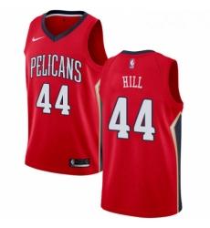 Mens Nike New Orleans Pelicans 44 Solomon Hill Swingman Red Alternate NBA Jersey Statement Edition