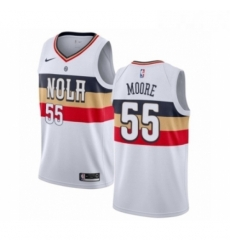 Mens Nike New Orleans Pelicans 55 E Twaun Moore White Swingman Jersey Earned Editio
