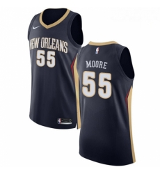 Mens Nike New Orleans Pelicans 55 ETwaun Moore Authentic Navy Blue Road NBA Jersey Icon Edition